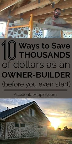 Building a house can be expensive, but there are tons of ways to save money if you build it yourself. Check out these 10 ways we found to save thousands of dollars before you even START building! Wood, kitchen, garden and home toolsHome Furniture Home Building Tips, Building Plans, Building A House, Building Ideas, Building Materials, Building Your Own Home, Building Design, Natural Building, Building Facade