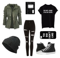 """School#2"" by awesomegoldfish ❤ liked on Polyvore featuring Neff, Topshop and Converse"
