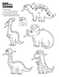 This Dinosaur Clothespin Printable is the perfect activity to introduce Dino Day or jsut teach your students about the importance of dinosaurs! Dinosaur Crafts Kids, Dinosaur Puppet, Dinosaur Printables, Dinosaur Activities, Dinosaur Party, Craft Activities For Kids, Dinosaur Coloring Pages, Cool Coloring Pages, Construction Theme Classroom