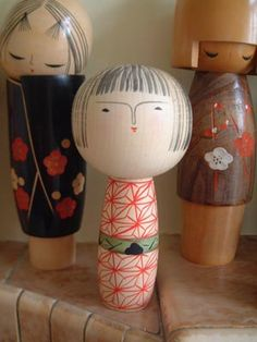 Round Headed Kokeshi and Friends
