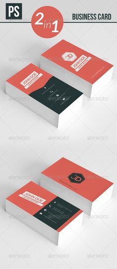 Business Card 2 in 1 2 sided 4 PSD files (Layered) Ready to use, easy to modify. 3.52 300 dpi and CMYK color  Fonts