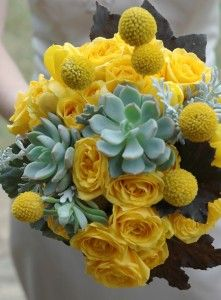 Yellow rose wedding flower arrangements