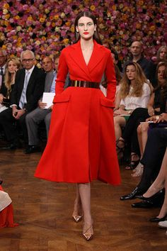 Dior Haute Couture Autumn-Winter 2012 – Look 10: 'Dior Red' cashmere 'Bar' coat. Discover more on www.dior.com  #Dior #PFW