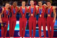 Team USA men's gymnastics team takes bronze at the 2011 world championships.  L-R: Jonathon Horton, John Orozco, Jake Dalton, Steven Legendre, Danell Leyva and Alex Naddour.