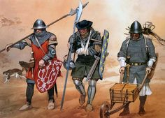 """""""French infantry, 1337-1360""""  • Northern French militiaman, c. 1340 • Sergeant from Champagne, c. 1360 • Provençal mercenary crossbowman, c. 1350"""