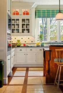 Diamond tile with square cut outs and accent strip Backsplash idea (Houzz)