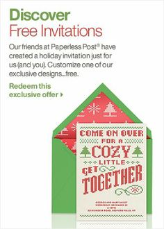 Really cute Ugly Sweater Party invitation! Christmas Dinner Invitation- Free from Paperless Post | Crate and Barrel