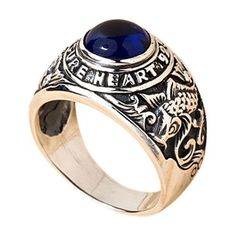 The cohesive design of our Koi Sapphire Mens Ring features carp koi carvings across the band, a conjunction of dark and light silver, and a huge sapphire gem