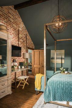 The Sanctuary – Hampshire, UK (House of Turquoise) House Of Turquoise, Bedroom Turquoise, Home Bedroom, Bedroom Decor, Bedroom Interiors, Bedroom Rustic, Master Bedrooms, Brick Bedroom, Brick Wall Bedroom