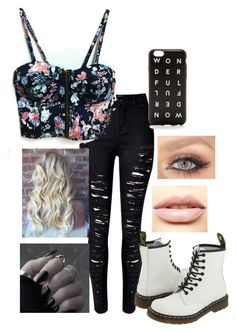 """Punk Floral"" by hail-higgs on Polyvore featuring Dr. Martens, WithChic, J.Crew and LASplash"