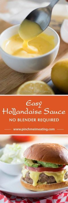 Easy Hollandaise sauce recipe doesn't require a blender, a double boiler, or constant whisking. If you want a thick, creamy & tangy sauce that's easy to make and an easily-scalable recipe that's a cinch to memorize, give this one a shot! Hollandaise Sauce Blender, Homemade Hollandaise Sauce, Sauce Recipes, Cooking Recipes, Healthy Recipes, Simple Recipes, Beef Recipes, Homemade Sauce, Gastronomia