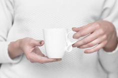 MOBIUS cups, set of four, white china mugs for coffee or tea handmade by ENDE
