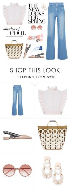 """Flared Jeans"" by erindream ❤ liked on Polyvore featuring Victoria, Victoria Beckham, Philosophy di Lorenzo Serafini, Miu Miu, Marni, Dolce&Gabbana, Lele Sadoughi and Eyeko"