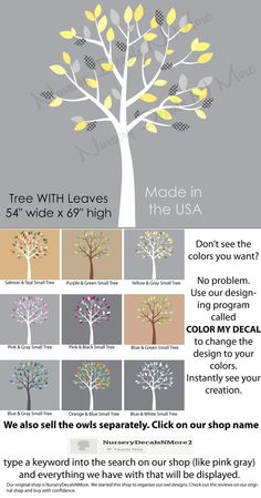 White Tree Wall Decals for Baby Nursery, Wall Decal, White Tree Stickers (Yellow…