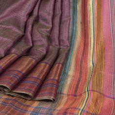 Rema Kumar Mauve Taupe Hand Woven Tussar Twill Silk Saree 10001690 - AVISHYA