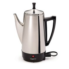 12-cup Stainless Steel Perk brews great tasting coffee, rich, hot, and fast. Makes two to twelve cups of rich, flavorful coffee at cup-a-minute speed, then keeps it piping hot automatically. Signal light tells you when coffee is ready to serve.