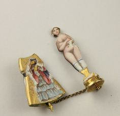 Superb RARE 14 Ct Gold Enamel Antique Victorian Boxed Risque Lady in Dress Charm | eBay