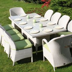 Sussex Rectangular Dining Table with 2 Dining Armchairs and 8 Dining Chairs - Soft White Garden Furniture Sets, Dining Furniture, Outdoor Furniture Sets, Outdoor Decor, Garden Dining Set, Garden Table And Chairs, Dining Arm Chair, Dining Table, Outdoor Living Areas