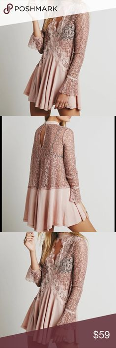 Sale HOST PICK PALE PINK LACE DRESS 💥HOST PICK SUMMER LOVING PARTY Beautiful pale pink lace dress, open chest with a choker collar & long sleeves. Undergarment needed.🌺🌸 Dresses Mini