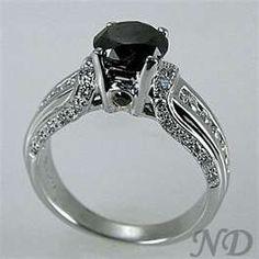 Engagement Rings :: Antique Black Diamond Engagement Ring