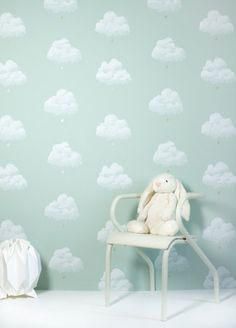 Buy Online Cotton Clouds Kids Wallpaper in Water Lily by Bartsch. A light green sky with golden raindrops. A delicate decor for children's rooms & nurseries. Cloud Wallpaper, Kids Wallpaper, Room Wallpaper, Paris Wallpaper, Special Wallpaper, Wallpaper Designs, Green Wallpaper, Wallpaper Ideas, Baby Bedroom
