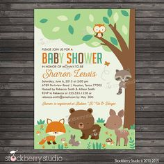 woodland baby shower invitation printable gender neutral baby shower woodland themed baby shower invites forest baby shower invitation
