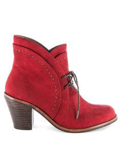 Brim suede ankle boots in red Sale - Esska