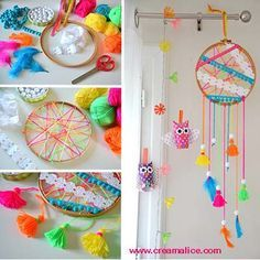 DIY : dream catcher for a child room Diy For Kids, Crafts For Kids, Diy Dream Catcher Tutorial, Craft Projects, Projects To Try, Diy And Crafts, Arts And Crafts, Activities For Kids, Mandala