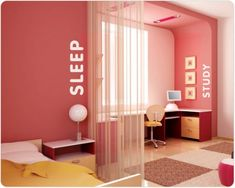 For teen room or dorm room...love how the floor tiles and curtain divide the space.