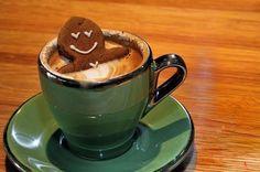 Gingerbread man in a hot chocolate hot tub. SO CUTE.