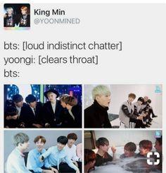 I swear the other BTS members are terrified of Yoongi I'm just putting that out there lol.💜💜💜💜💜I LOVE BTS Bts Namjoon, Bts Bangtan Boy, Bts Boys, Jimin, Hoseok, Bts Memes, Kpop, Jikook, Bts Tweet