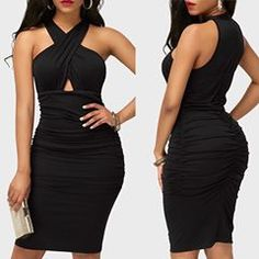 """""""Ruched High Waist Black Sleeveless Sheath Dress"""" Look So Beautiful On You Shop link in bio or search""""Sheath Dress""""… Ruched Dress, Sheath Dress, Gowns, Female, Formal Dresses, My Style, Womens Fashion, Sexy, Clothes"""