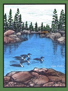 Loons on the lake - my 4th stampscape scene.