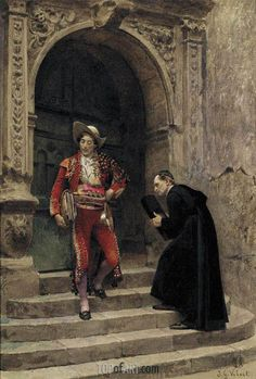 Figaro and a Priest, undated   Jehan Georges Vibert
