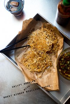 Crispy Noodles with Sweet Ginger Scallion Sauce