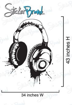 Vinyl Wall Decal Sticker Headphones Music Urban S by Stickerbrand, $39.95