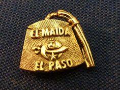 Vintage Shriners Tie Tack Lapel Pin Fez Hat Gold Tone El Maida El Paso TX 1967