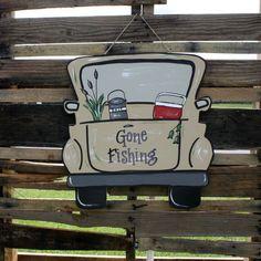 """Finished """"Gone Fishing"""" Truck Door Hanger Wooden Cutouts, Wooden Shapes, Painted Doors, Wood Doors, Wooden Truck, Burlap Door Hangers, Diy Cutting Board, Wooden Picture Frames, Kids Wood"""