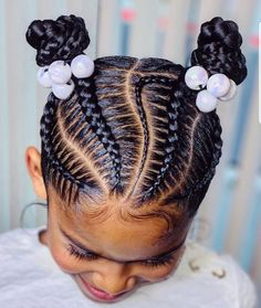 Black Baby Hairstyles, Natural Hairstyles For Kids, Fashion Hairstyles, Beautiful Hairstyles, Ponytail Hairstyles, Little Girl Braids, Braids For Kids, Cornrow Styles For Kids, Natural Braided Hairstyles
