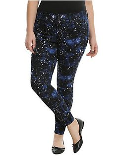 """<div>Explore unknown galaxies from the comfort of these jeans from Blackheart. The black and blue galaxy print super skinnies have a new-and-improved fit that make these fit like a second skin! You won't ever want to take them off! Faux front pockets, 2 back pockets and a 3-button and zip fly round out the details and truly make them out of this world.</div><div><ul><li style=""""list-style-position: inside !important; list-style-type: disc !important;"""">70% cotton; 28% polyester; 2%…"""