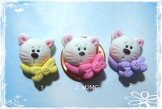 Kitty with Bow Polymer Clay Charm Bead Scrapbooking Bow Center Pendant Cupcake topper Magnet Ring Polymer Clay Magnet, Clay Magnets, Polymer Clay Animals, Fimo Clay, Polymer Clay Charms, Handmade Polymer Clay, Polymer Clay Jewelry, Polymer Clay Projects, Polymer Clay Creations