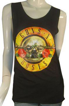 Gun N Roses Hard Rock Band Printed T-shirts Biker Vest Sz S Black Singlet   eBay