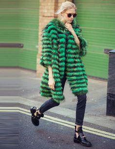 Go big, go green. Elena Perminova's London Fashion Week Wardrobe Autumn Winter 2013 ELLE UK #rockyourcolour #fashionweek #fallfashion