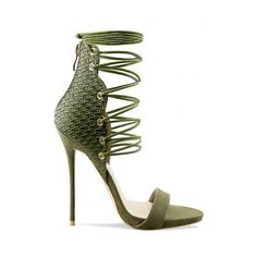 Regan Khaki Ankle Woven Tie Up Heels : Simmi Shoes - Love Your Shoes! ($9.31) ❤ liked on Polyvore featuring shoes, pumps, braided shoes, strap shoes, strappy pumps, woven shoes and laced up shoes