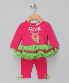 Take a look at this Pink & Lime Reindeer Tunic & Leggings - Infant & Girls by Rare Editions on #zulily today!