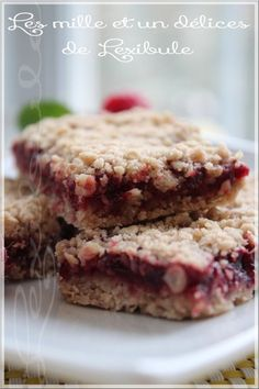 ~ Raspberry oat bars ~ 100 g cup) rolled oats 80 g cup) all-purpose flour 1 tsp. (teaspoon) cinnamon (me tsp) 1 pinch of salt 3 * 4 tsp. brown sugar or brown sugar 80 g cup) margarine or butter, softened 250 g cup) raspberry jam without sugar Köstliche Desserts, Healthy Desserts, Delicious Desserts, Yummy Food, Tasty, Brownie Desserts, Easter Desserts, Beer Recipes, Cooking Recipes