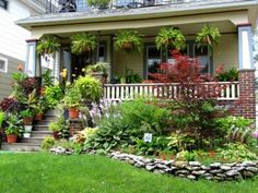Beautiful Front Yard Gardens Porch Landscape Garden Lawn And