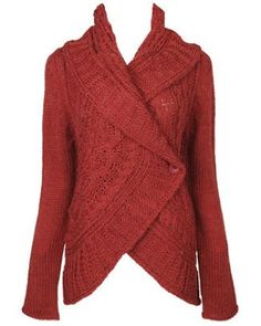 Cozy red knitted cardigan