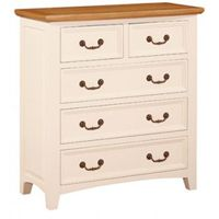 Ripon Cream & Oak 2 Plus 3 Drawer Chest    Crafted from Oak, Acacia and MDF then finished elegantly to produce a range that is full of character  Ready assembled  95 (w) x 44 (d) x 99 (h) cm  The stylish Ripon range is perfectly suited to modern day living, the collection offers style and practicality in any setting. The Ripon range has a bright rustic feel with a top quality painted finish.