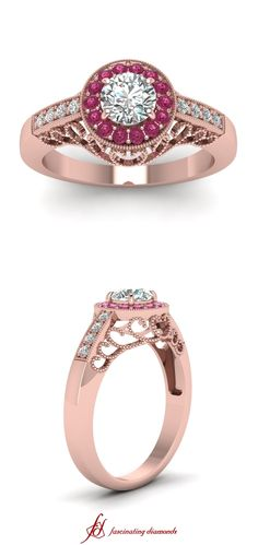 Milgrain Refulgent Ring ||  Round Cut Diamond Milgrain Rings With Pink Sapphire In 14k Rose Gold